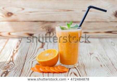 turuncu · havuç · iki · yüzlü · taze · cam · içmek - stok fotoğraf © m-studio