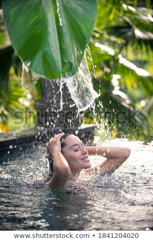 Hölgy szabadtér úszómedence gyönyörű szőke nő kaukázusi Stock fotó © kasto