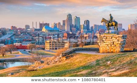 カンザス 建物 市 スカイライン 湖 ストックフォト © compuinfoto