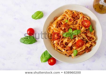 Plate of delicious homemade fettuccine pasta Stock photo © ozgur