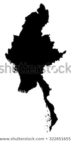 Kaart Myanmar zwarte vector geïsoleerd illustratie Stockfoto © rbiedermann