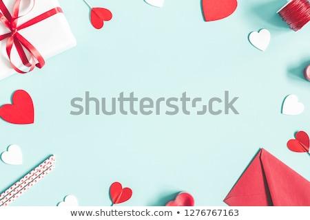 Boríték valentin nap piros szív alak szimbólum postabélyeg Stock fotó © dezign56