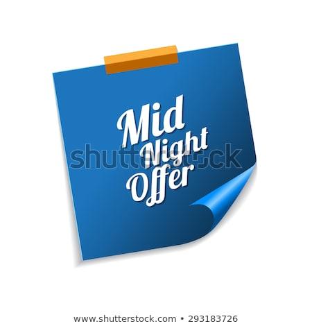 éjfél ajánlat kék cetlik vektor ikon Stock fotó © rizwanali3d