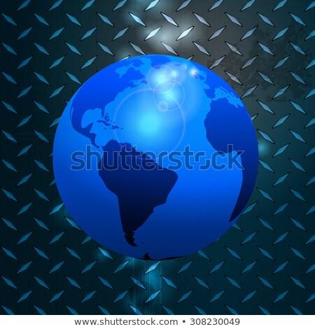 World globe over metallic diamond plate Stock photo © elaine