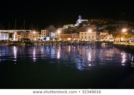ibiza island harbor and city under night light stock photo © lunamarina