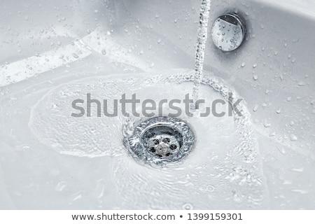 Chrom Waschbecken modernen Design Bad Hintergrund Stock foto © jordanrusev