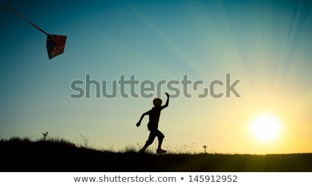 Stock photo: boy plays kite against sky