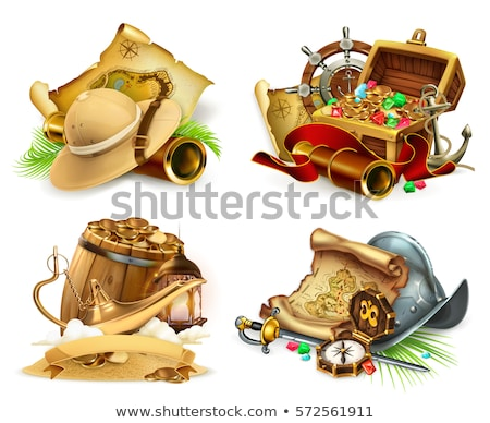 Stock photo: Treasure chest of coins and Aladdin's magic lamp