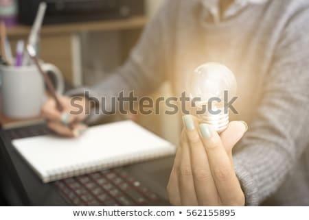 femme · main · dessin · idée · ampoule · bleu - photo stock © ra2studio