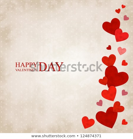 Red hearts on vintage paper background. EPS 10 Stock photo © beholdereye