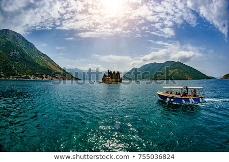 sailing ship in the bay of kotor mountains landscape stock photo © steffus