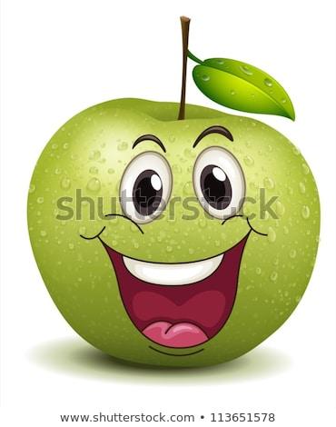 Emoticon maçã alimentação sorridente bebê Foto stock © funix
