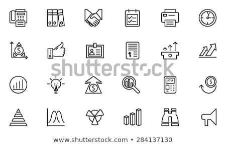 pyramid with arrow up line icon stock photo © rastudio