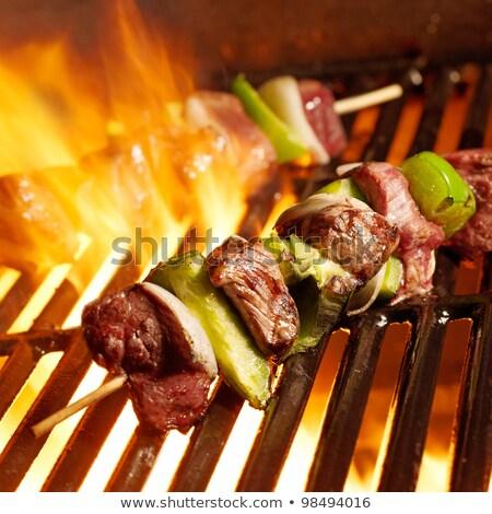 Kebab sinaasappelen macro shot Rood vlees Stockfoto © Digifoodstock