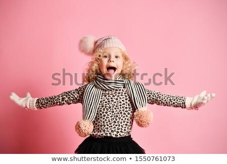Kislány rózsaszín szoknya kalap illusztráció lány Stock fotó © bluering