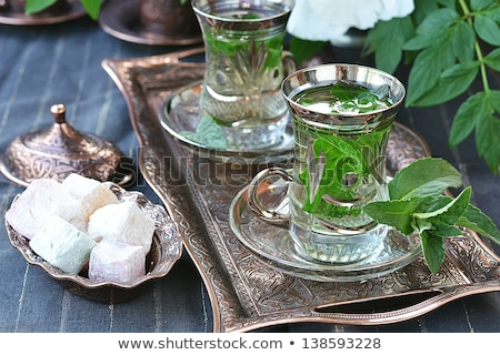 Image Of Traditional Eastern Teapot And Cups Stok fotoğraf © zoryanchik