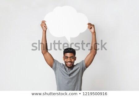 человека · речи · пузырь · небольшой · белый · прямоугольный - Сток-фото © feedough