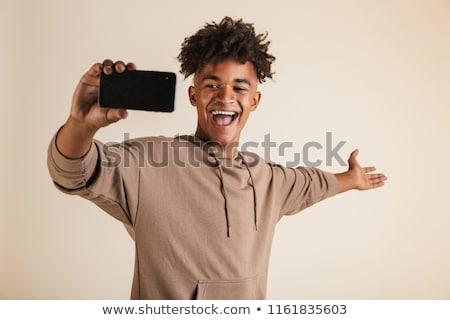 肖像 · ハンサム · アフリカ系アメリカ人 · 若い男 · 立って · 黒 - ストックフォト © deandrobot