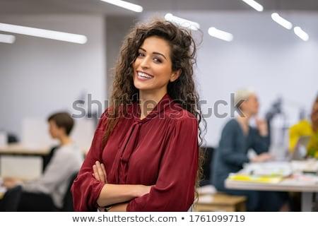 empresária · arquivo · mulher · azul - foto stock © elwynn