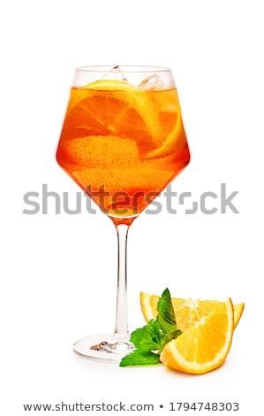 copa · de · vino · decorado · rodaja · de · naranja · vidrio · verano · beber - foto stock © neirfy