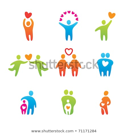group of people in the shape of a heart with one red person stock photo © sqback