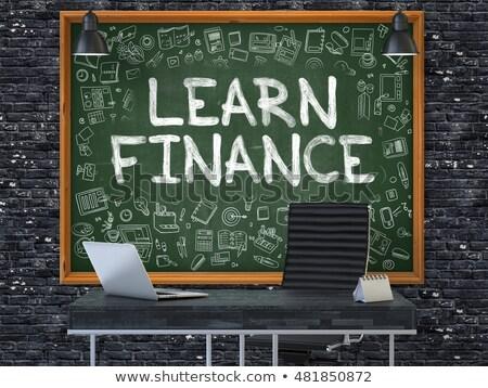Stockfoto: Leren · financieren · groene · schoolbord · 3d · illustration