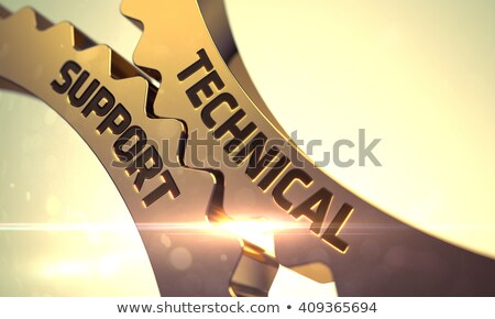 Mechanical Maintenance Concept. Golden Metallic Cogwheels. Stock photo © tashatuvango
