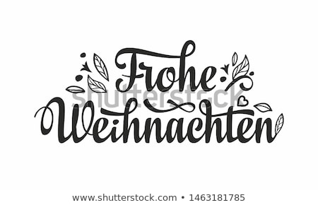 Vector Christmas Illustration with German Frohe Weihnachten Typography and Holiday Light Garland on  Stock photo © articular