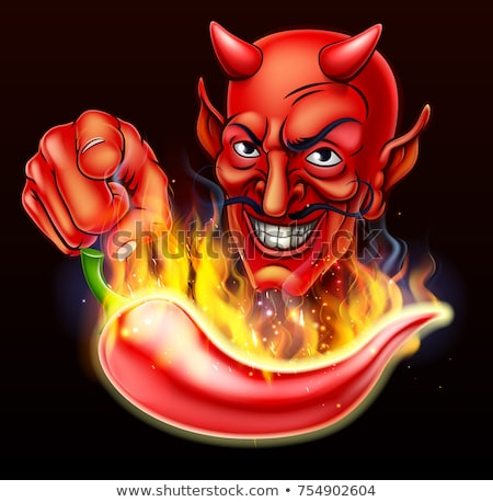 Flaming Hot Pepper and Pointing Devil Stock photo © Krisdog