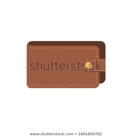 leder · portemonnee · geïsoleerd · icon · bankbiljetten · stijl - stockfoto © studioworkstock