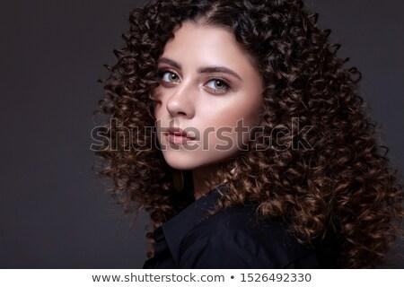 долго темные волосы глядя камеры Сток-фото © Giulio_Fornasar