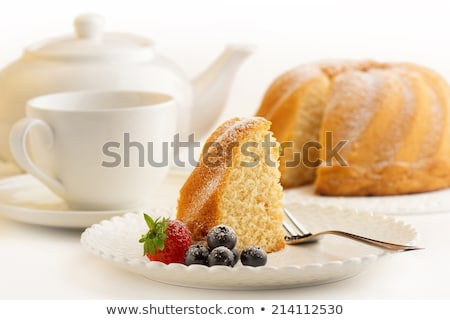 Szelet vanília torta tea házi készítésű reggeli Stock fotó © mpessaris