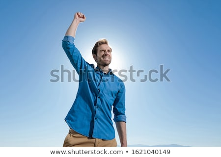 Champion homme célébrer air blanche Photo stock © feedough