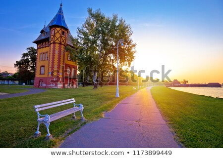 日の出 湖 町 表示 地域 セルビア ストックフォト © xbrchx