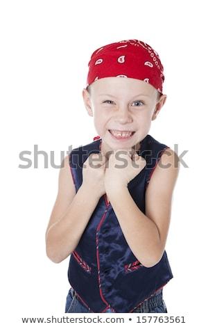 Engraçado menino pirata posando estúdio isolado Foto stock © acidgrey