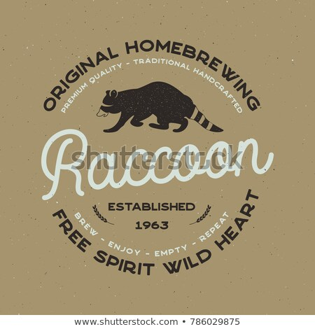 Wild animal badge with Raccoon and typography elements. Beer Logo template for brewing company. Stoc Stock photo © JeksonGraphics