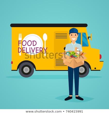 Voedsel levering moderne illustratie Stockfoto © Decorwithme