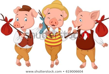 Sorridente pequeno porco desenho animado ilustração Foto stock © cthoman