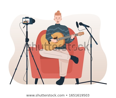 Man Record Song Illustration Stock photo © lenm