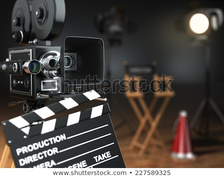 Megaphone, film reels and movie clapper board 3D Stock photo © djmilic