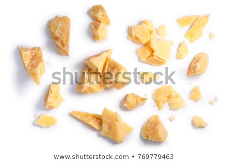 Hard mature Parmsean cheese pieces piles, paths, top Stock photo © maxsol7