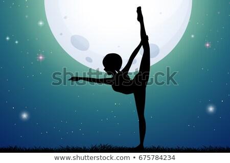 Silhouette woman doing yoga on fullmoon night Stock photo © colematt