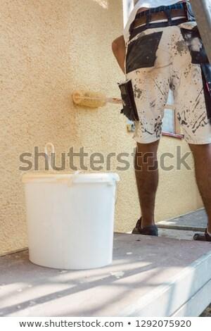 Torso man schilderij muur bouwplaats werken Stockfoto © Kzenon