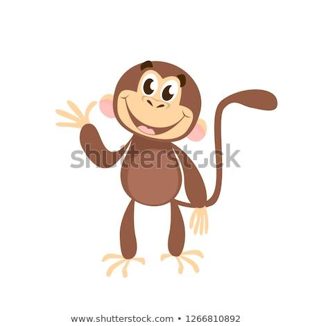 smiling monkey cartoon character waving for greeting stock photo © hittoon