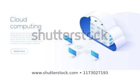 Dati trasferire computer portatile blu nube Foto d'archivio © make
