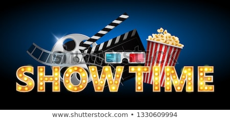 cinema concept showtime banner poster design with popcorn 3d glasses film tape clapperboard ve stock photo © marysan