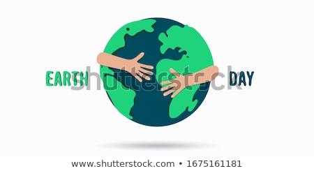 Föld napja háló szalag emberek ölel bolygó Stock fotó © cienpies
