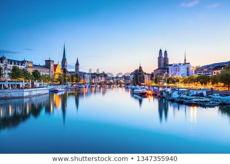 Zurich and Limmat river waterfront colorful panorama Stock photo © xbrchx