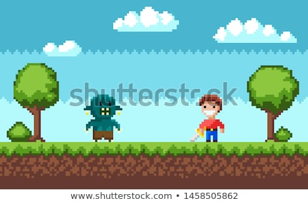 Cavalier Character with Steel, Pixel Game Vector Stock photo © robuart