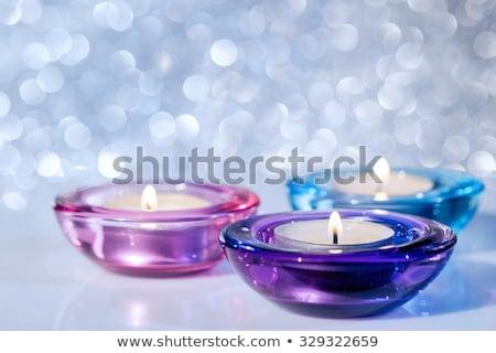 Trois verre couleur aromatique bougie blanche Photo stock © RuslanOmega